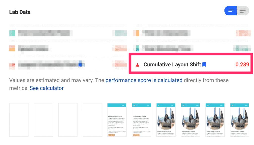 ตัวอย่าง Cumulative Layout Shift (CLS) ที่ไม่ดี