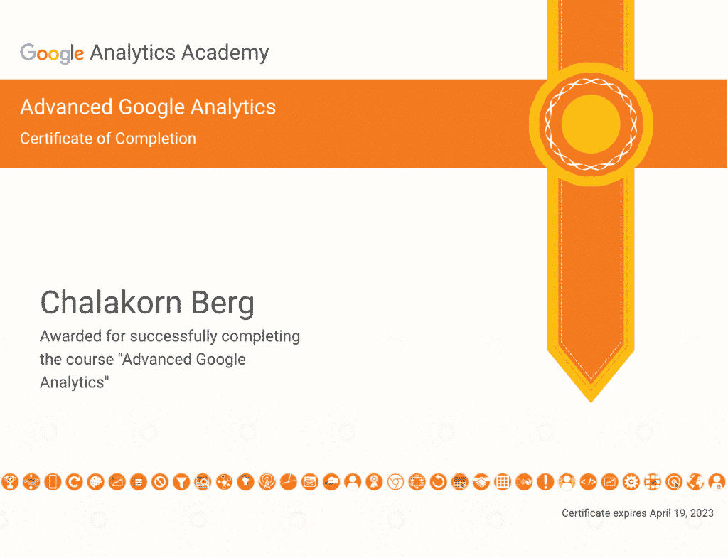 Chalakorn's Advanced Google Analytics Certification