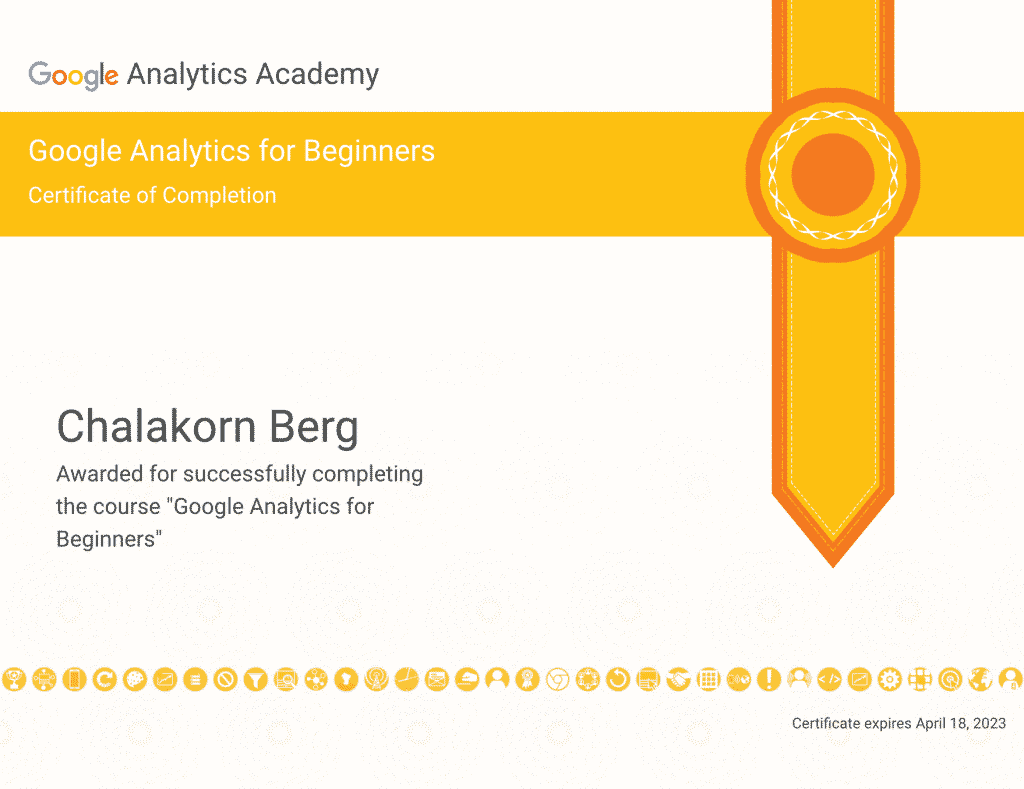 Chalakorn's Google Analytics Certification
