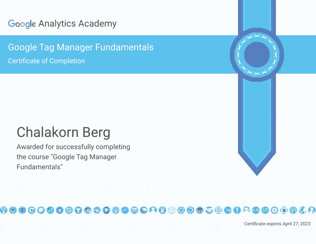 Chalakorn's Google Tag Manager Certification