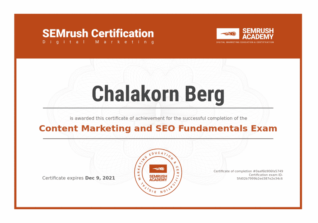 Chalakorn's Content Marketing Certification - Semrush
