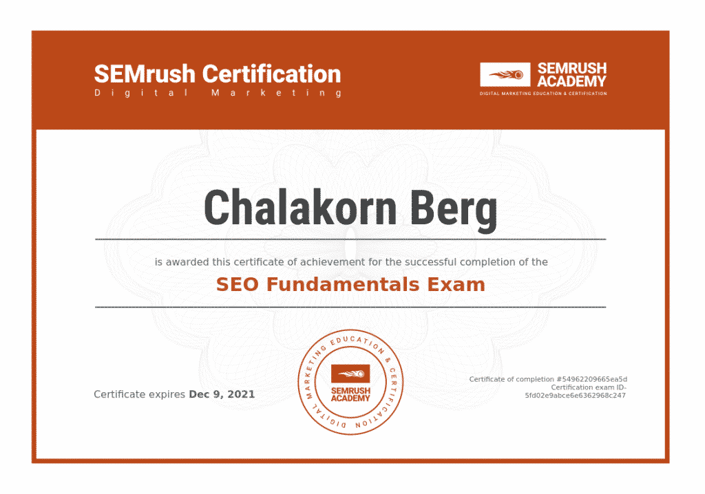 Chalakorn's SEO Certification - Semrush