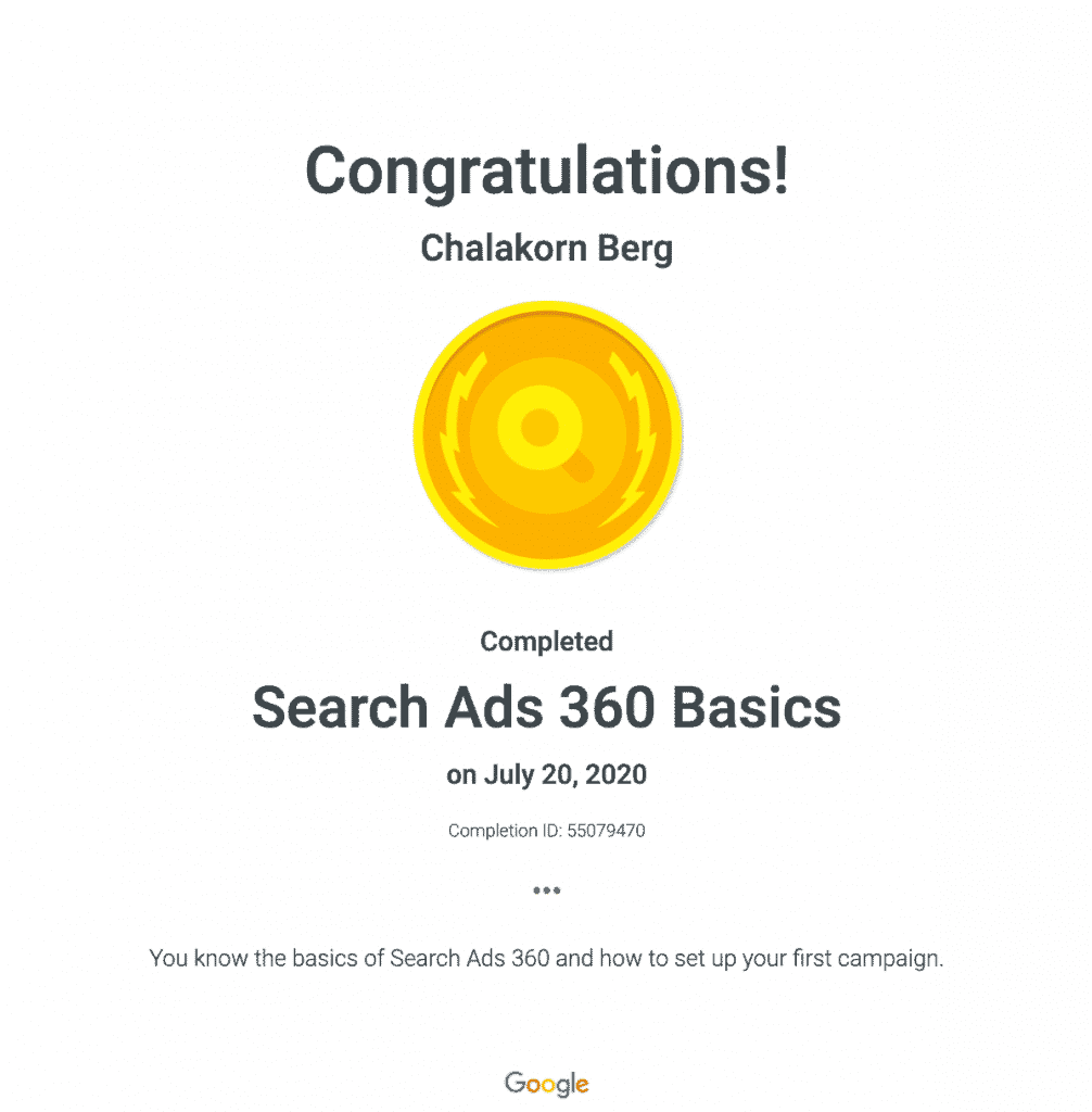 Chalakorn's Search Ads 360 Basic Google Certification