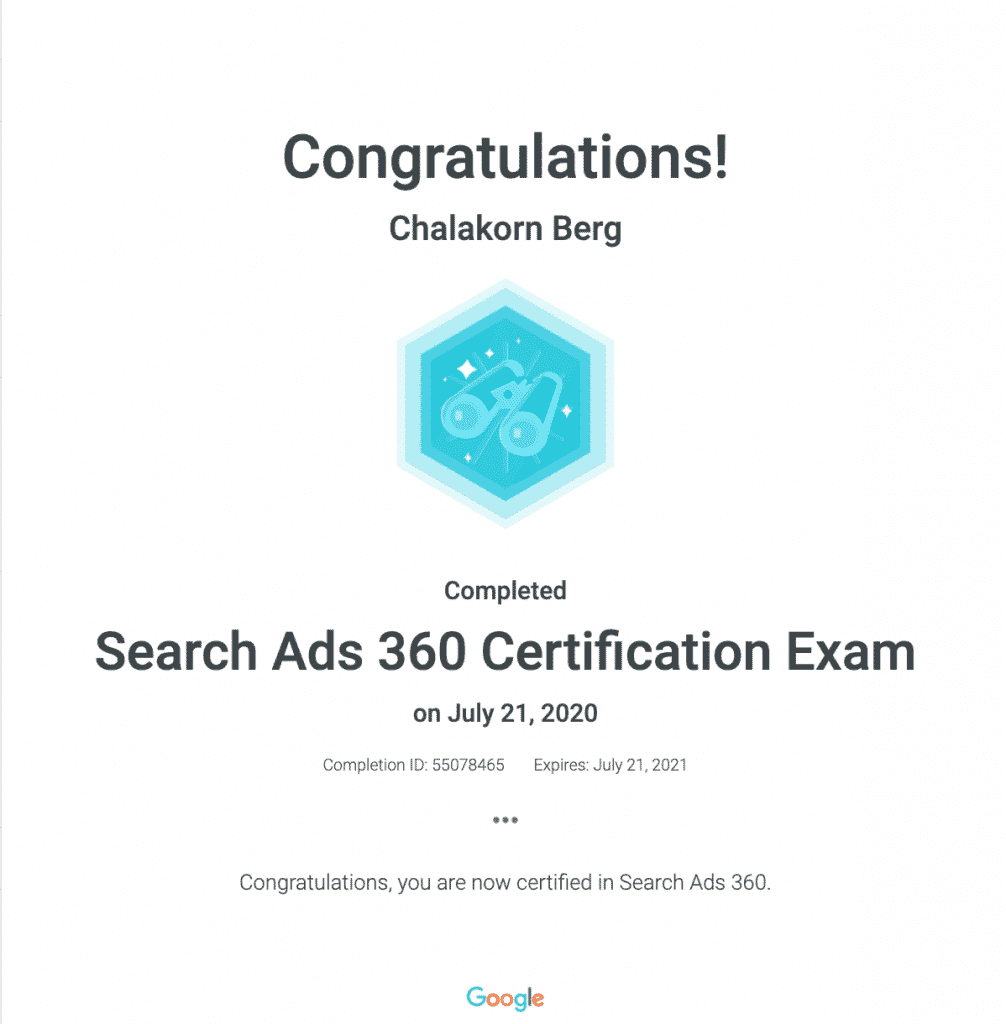 Chalakorn's Search Ads 360 Google Certification