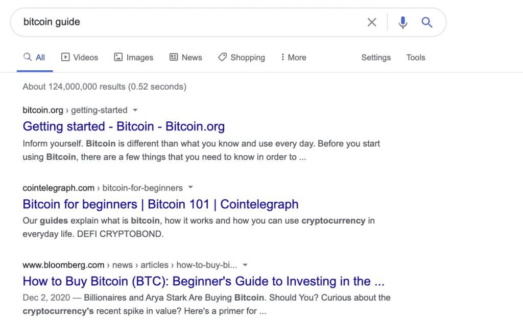 ตัวอย่างผลการค้นหาที่เน้น beginners