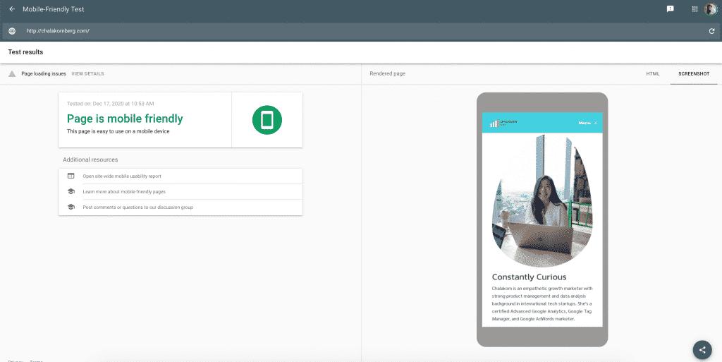ตัวอย่างหน้าเว็บไซต์ที่ Mobile-friendly