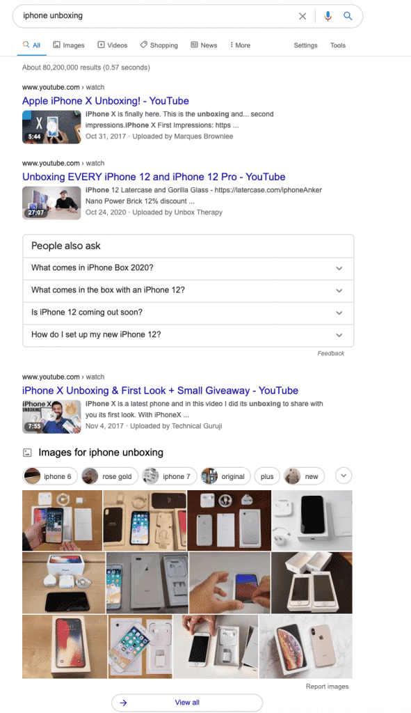 ตัวอย่างการเช็ก Search Intent บน Google