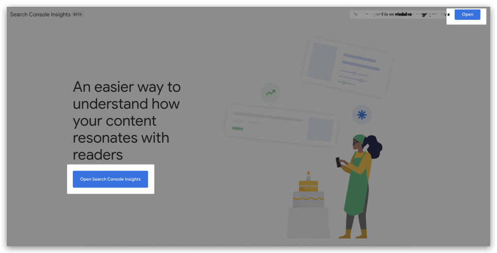 หน้าจอของ Google Search Console Insights
