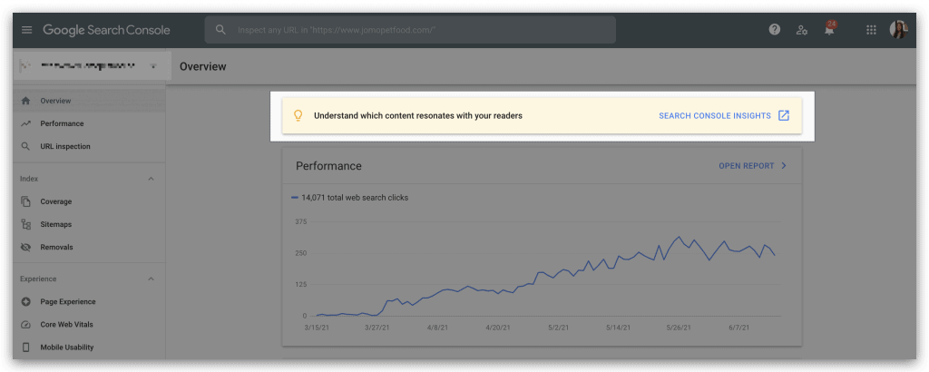 ตัวอย่างแบนเนอร์ Search Console Insights บน Google Search Console Dashboard