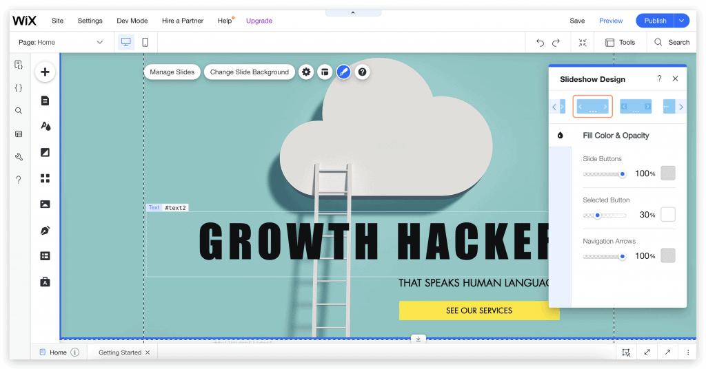 Screenshot การทำเว็บไซต์บน Wix