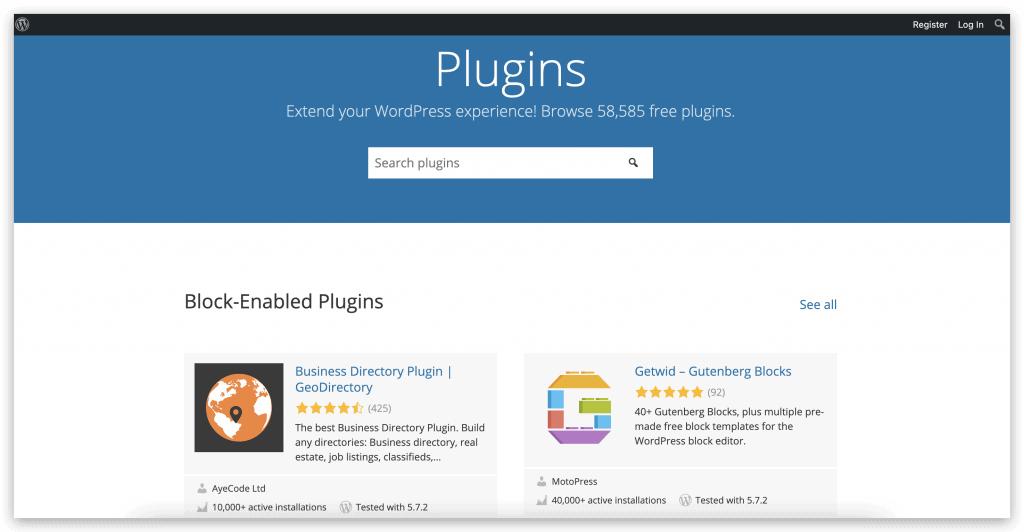 ตัวอย่างหน้าจอ Plugins ของ WordPress
