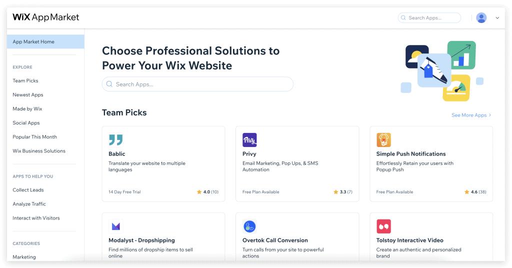 ตัวอย่างหน้าจอ App Market ของ Wix